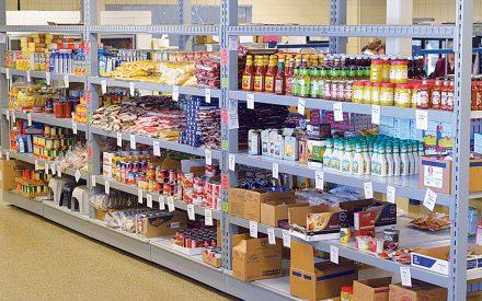 Grocery store shelves full of food